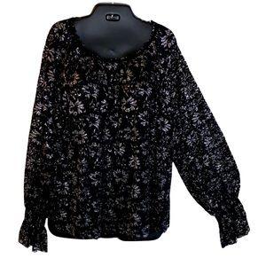 Soft black metallic lace plus sized top in 18w 20w
